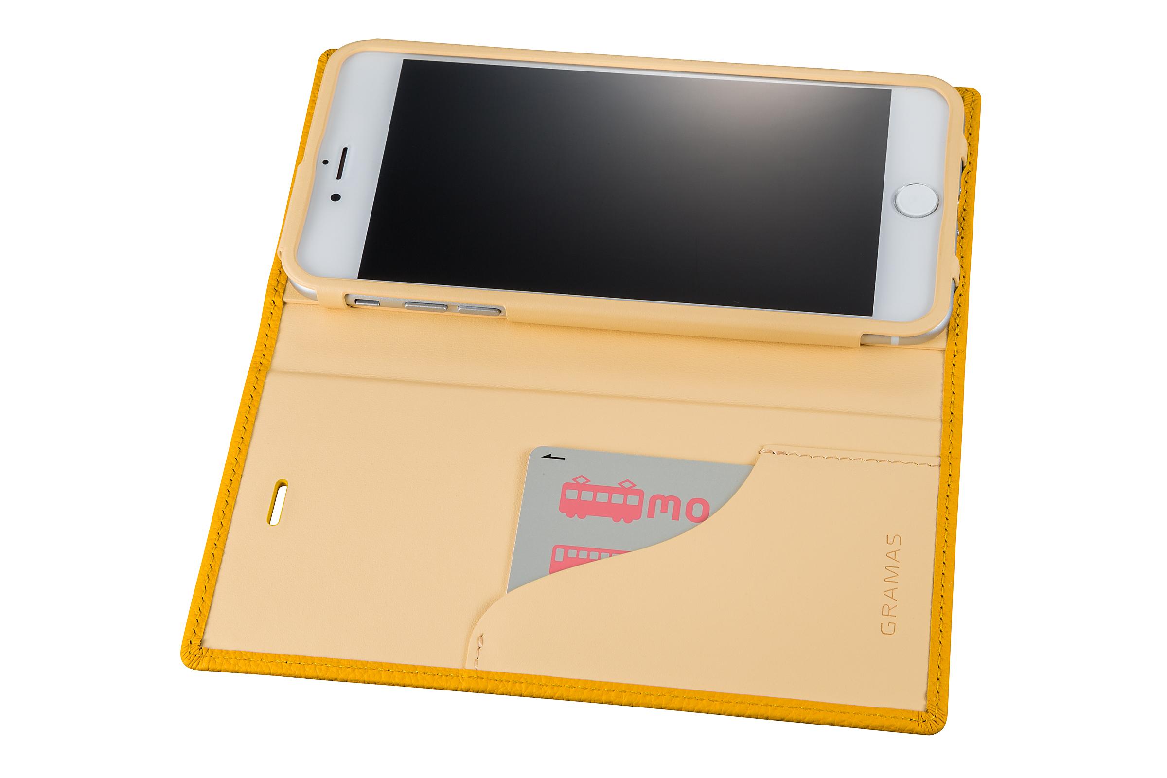 GRAMAS Shrunken-calf Full Leather Case for iPhone 7 Plus(Yellow) シュランケンカーフ 手帳型フルレザーケース - 画像4