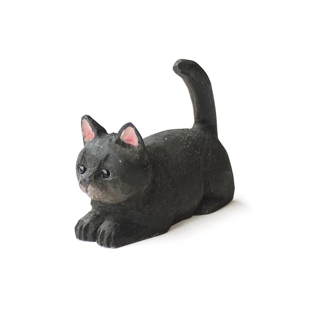 猫リングホルダー(ウッデンアニマルキャット)ブラック