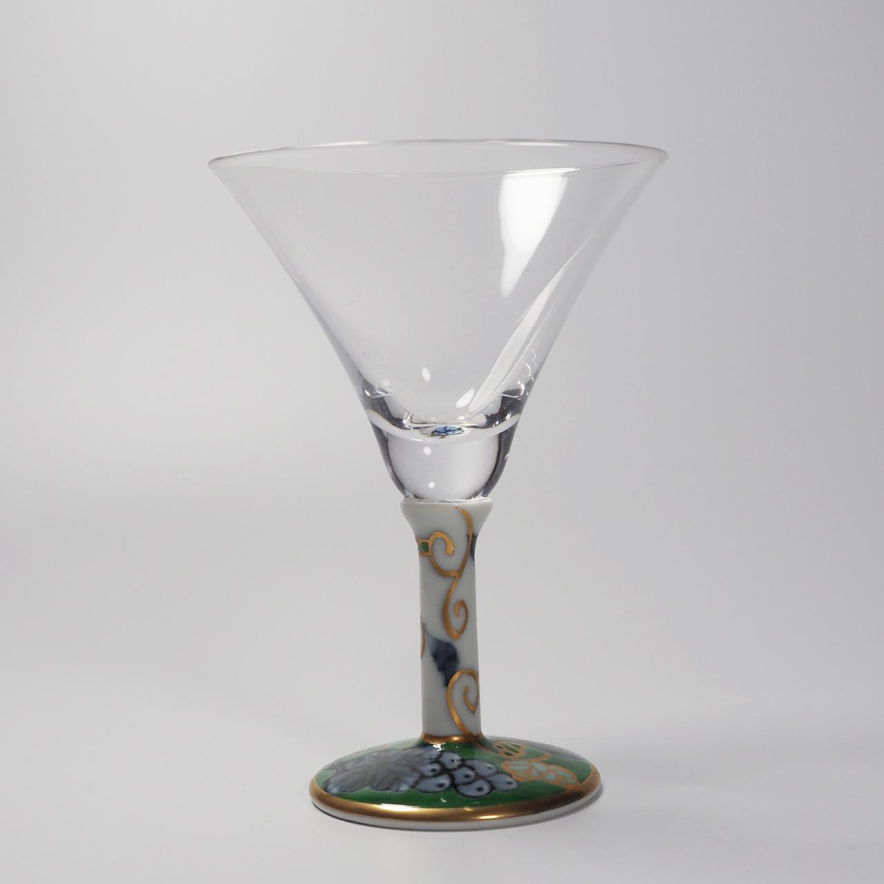 カクテルグラス (染錦葡萄グリーン) 20-004-C