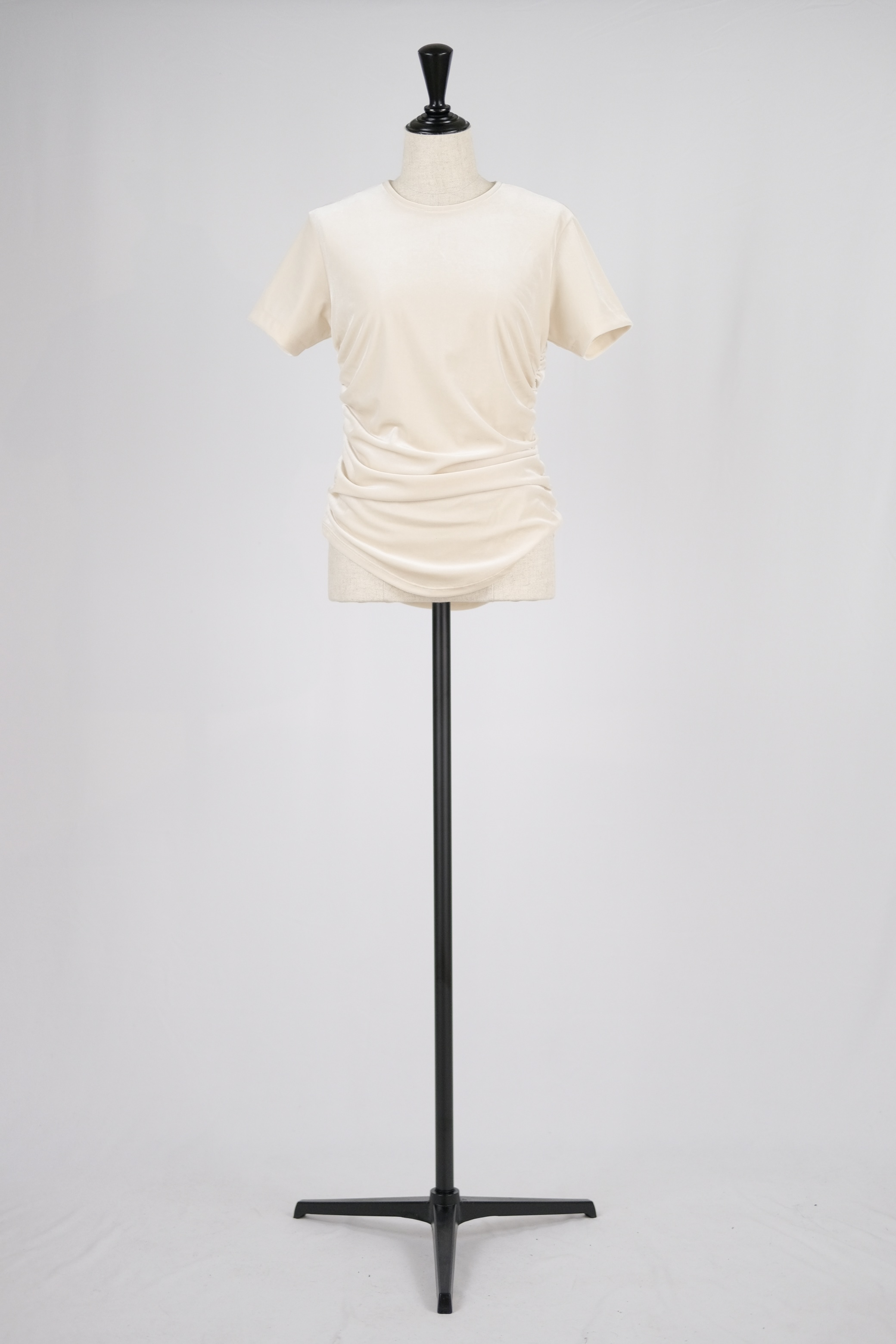 【FETICO】gathered velour T-shirt - off white