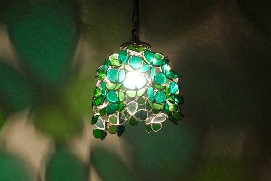 翡翠の花(ステンドグラスの吊りランプ)(ペンダントライト) 01010001