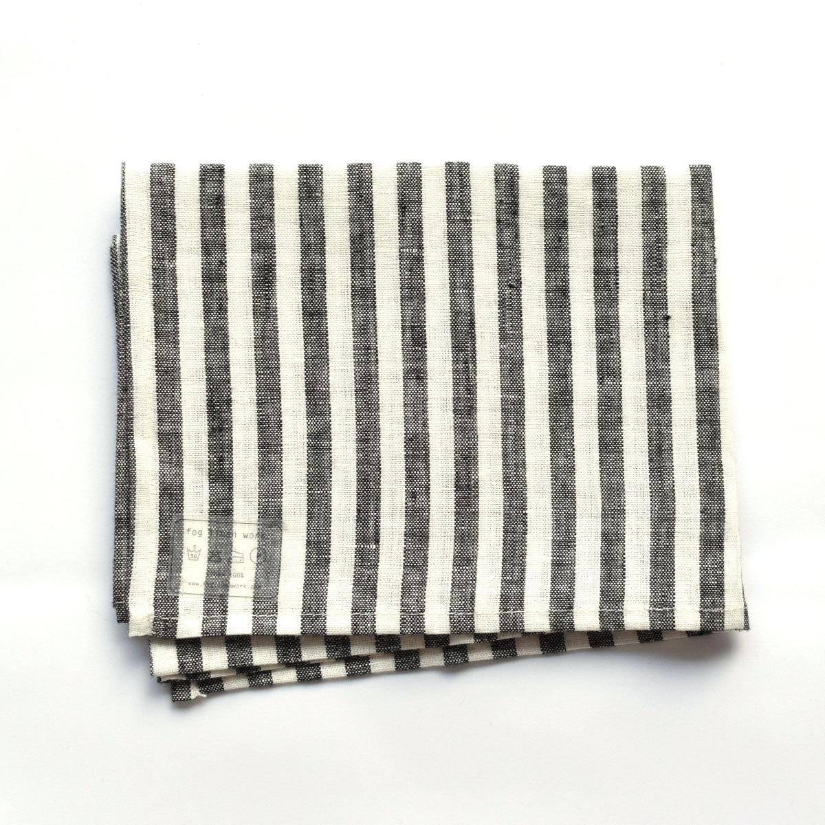 fog linen work(フォグリネンワーク)リネンキッチンクロス ブラックホワイトストライプ