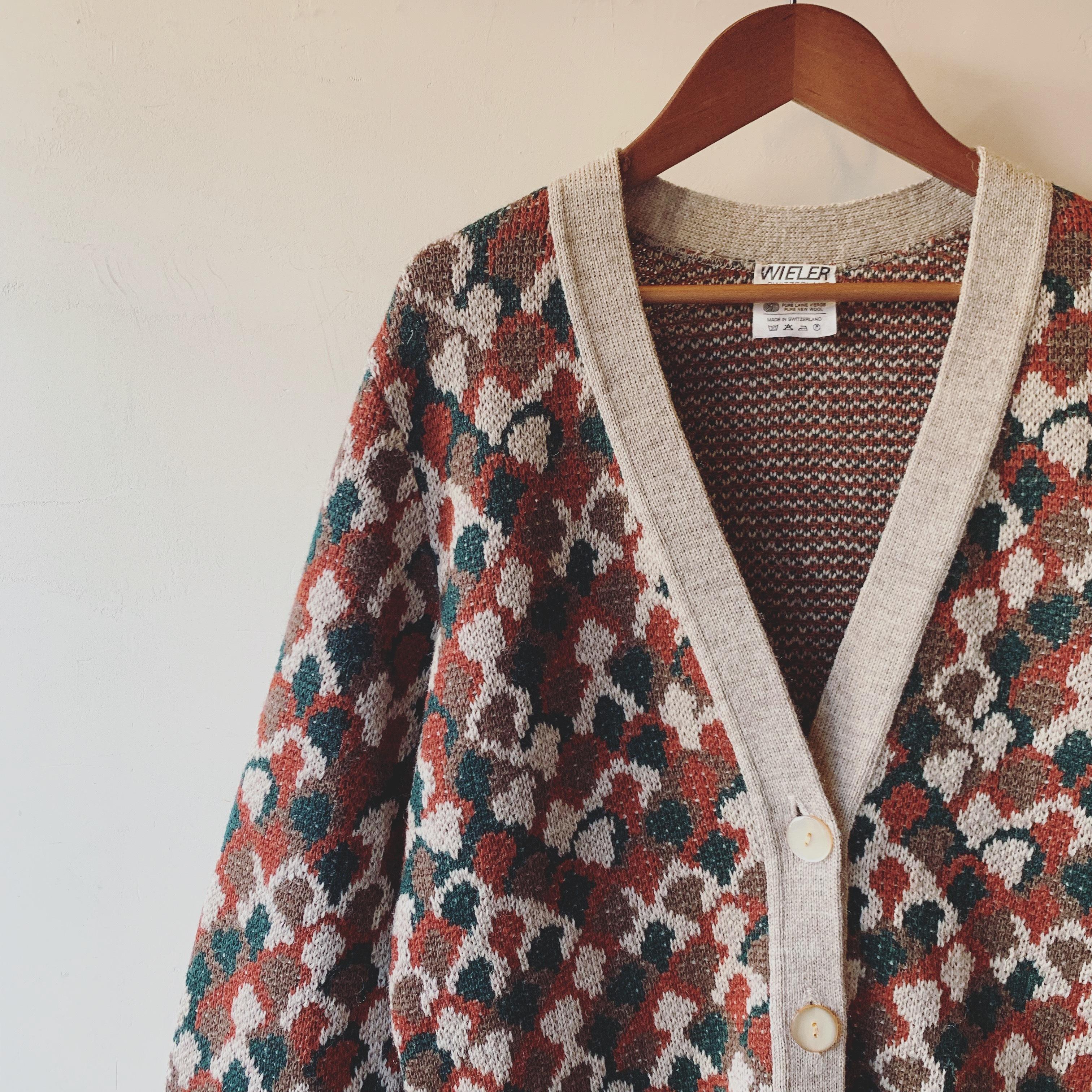 vintage switzeland design knit cardigan