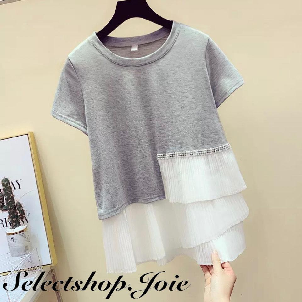 【Mサイズ即発送】パールステッチ シフォン切り替えTシャツ