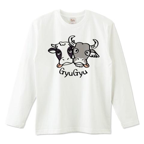 キャラT86 牛のギュウギュウ*AB *ナチュラル*長袖Tシャツ