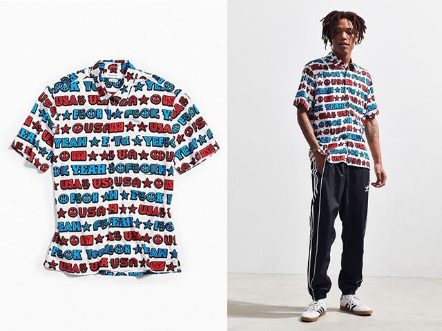 UO|F Yeah USA Short Sleeve Button-Down Shirt