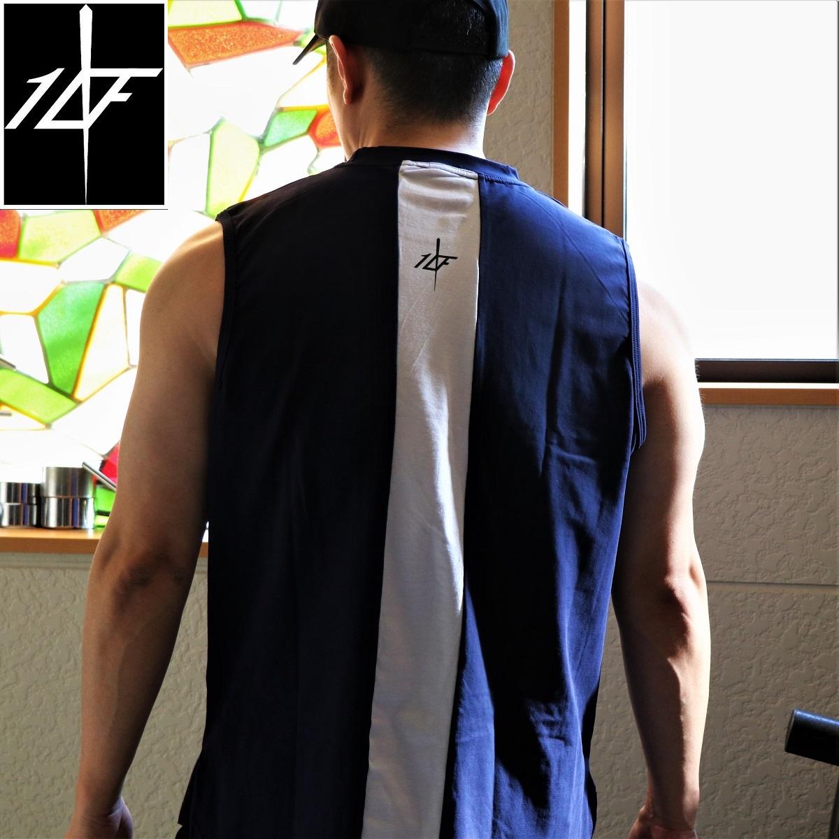 10FIT タンクトップ トレーニング 筋トレ ボディビル メンズ TT-23 紺白
