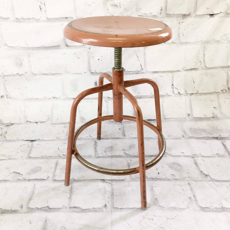 品番4363 インダストリアルチェア スツール ピンク Zoology 丸椅子 スチール製 ヴィンテージ