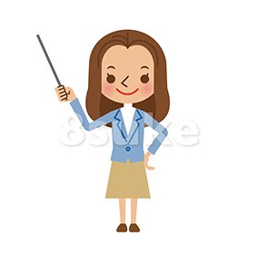 イラスト素材:指し棒を使って説明・解説する若い女性(ベクター・JPG)