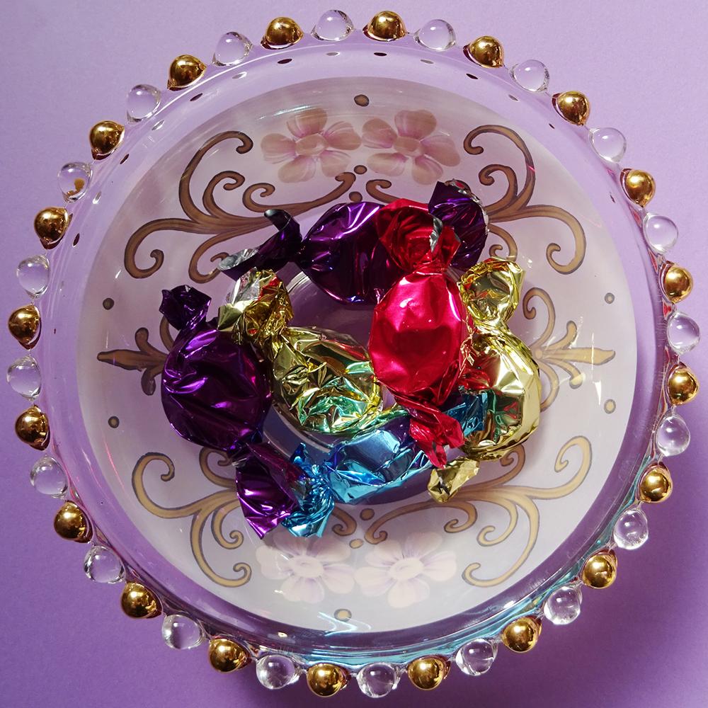 チェコ 金彩 お花のハンドペイント ミルククラウン型 ガラスの器