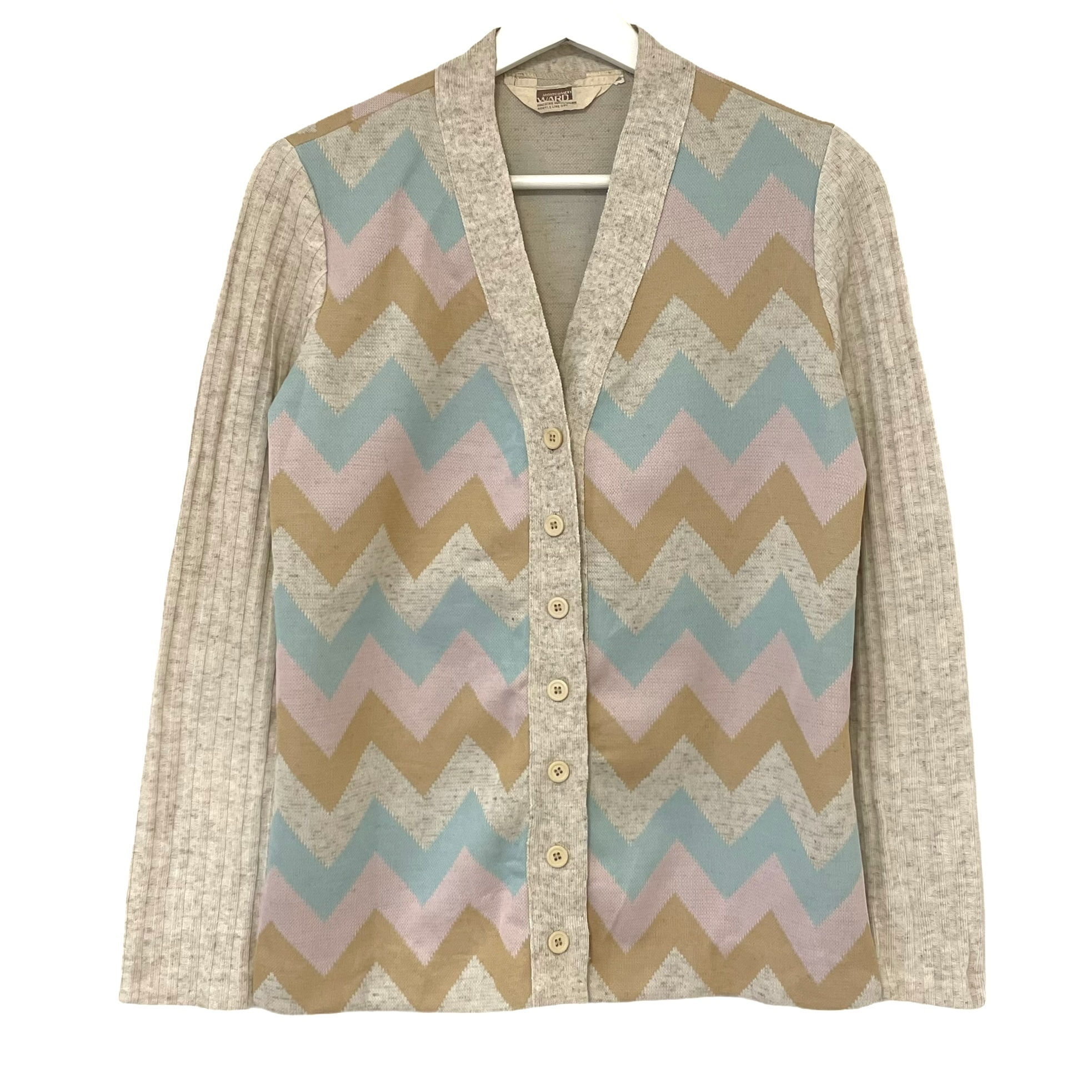 70's MONGOMERY WARD Zigzag Pattern Summer Knit Cardigan
