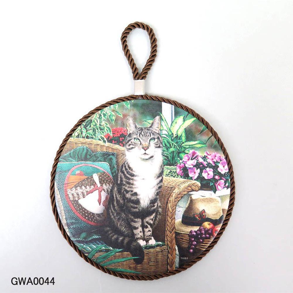 猫トリベット鍋敷き(アンティークキャット)ガーデン