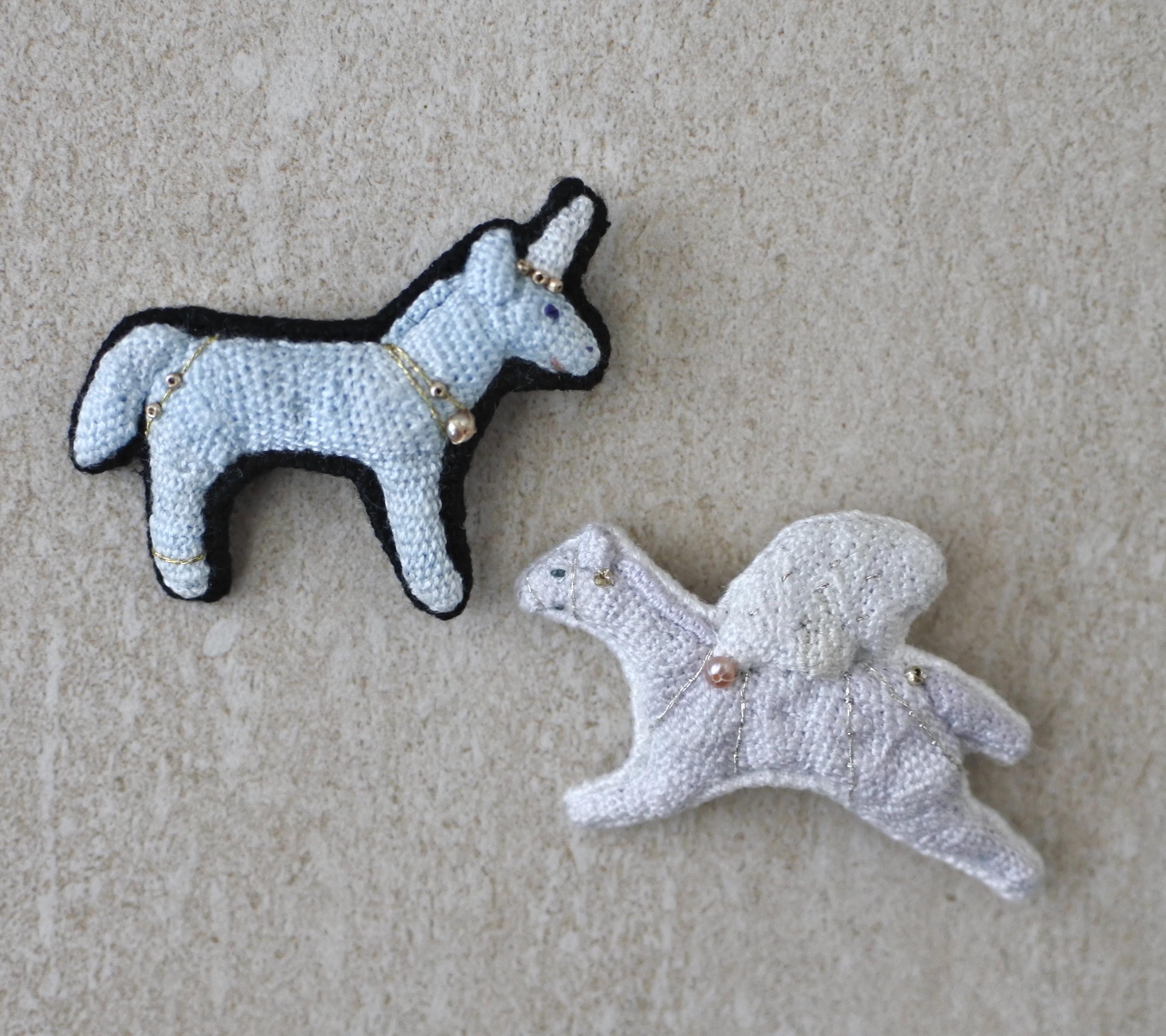 ham embroidery /ユニコーンのブローチ・ペガサスのブローチ
