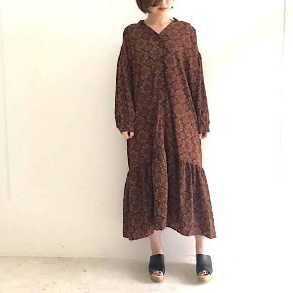 【 Days 】スキッパーシャツ柄ルーズワンピース