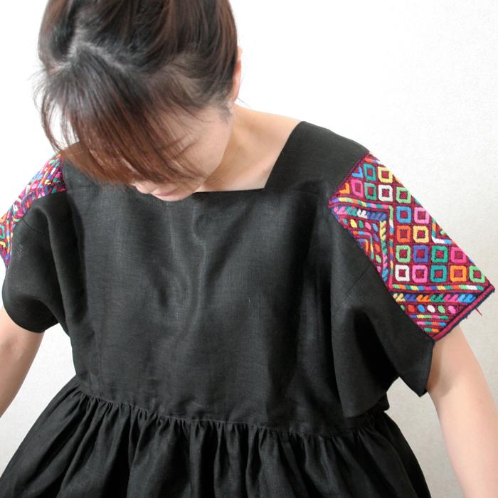 &JOURNEY original ナワラ織り袖のリネンワンピース/ black /287a/ GUATEMALA グアテマラ