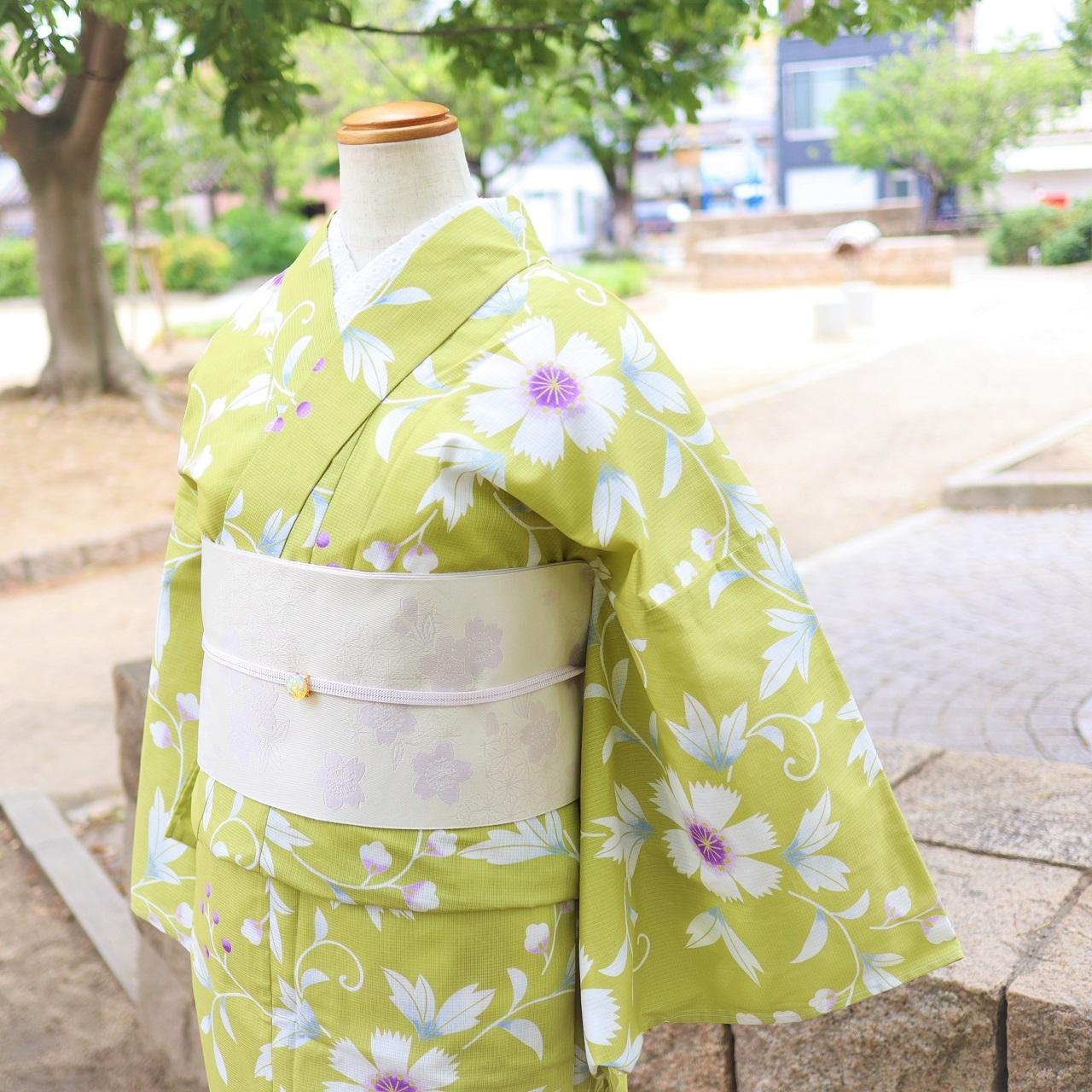 【浴衣 ゆかた すぐ着られる お仕立て上がり】速乾 形状記憶 綿  / 黄緑色 撫子
