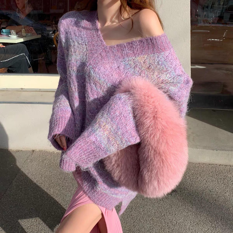 over v neck pastel knit
