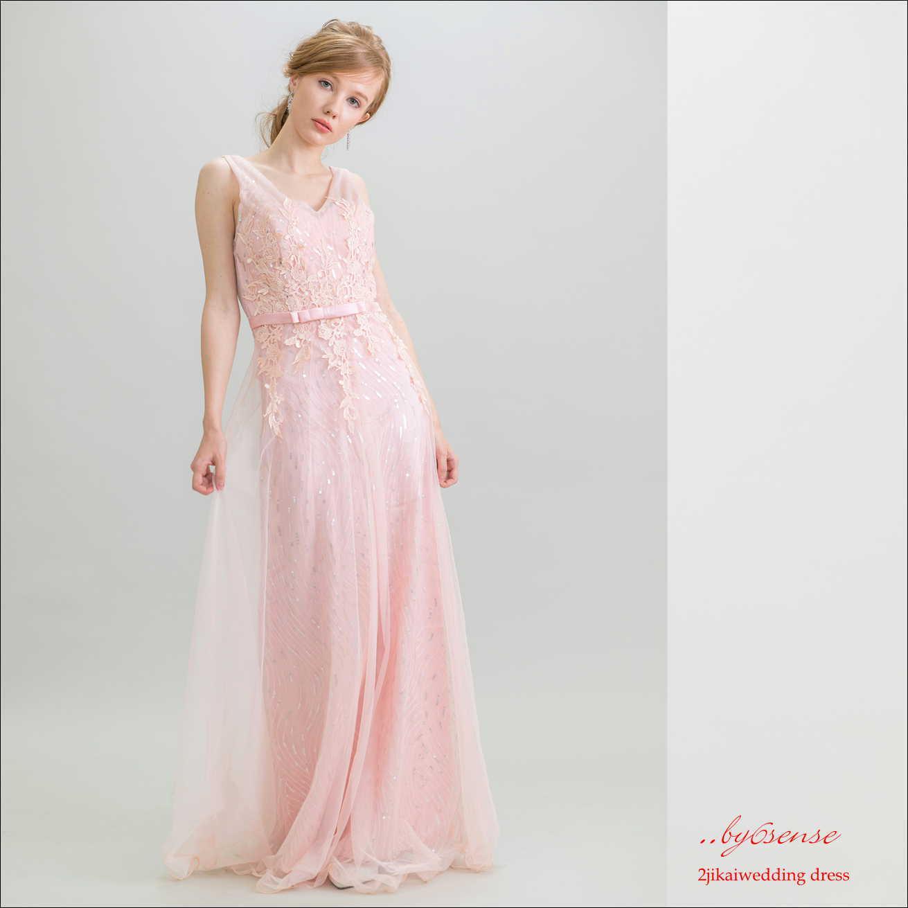 (結婚式二次会ウェディング)~ロングドレス~ピンク   (dr0025)