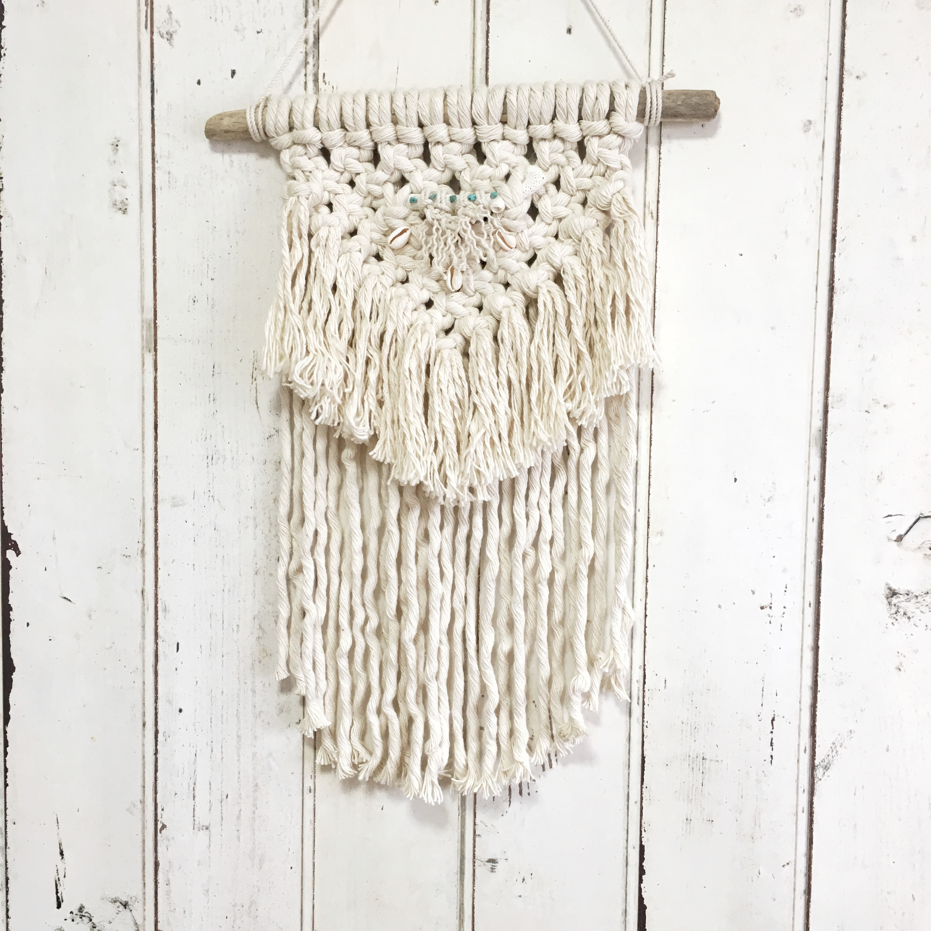 macrame tapestry - shell × turquoise × coral -