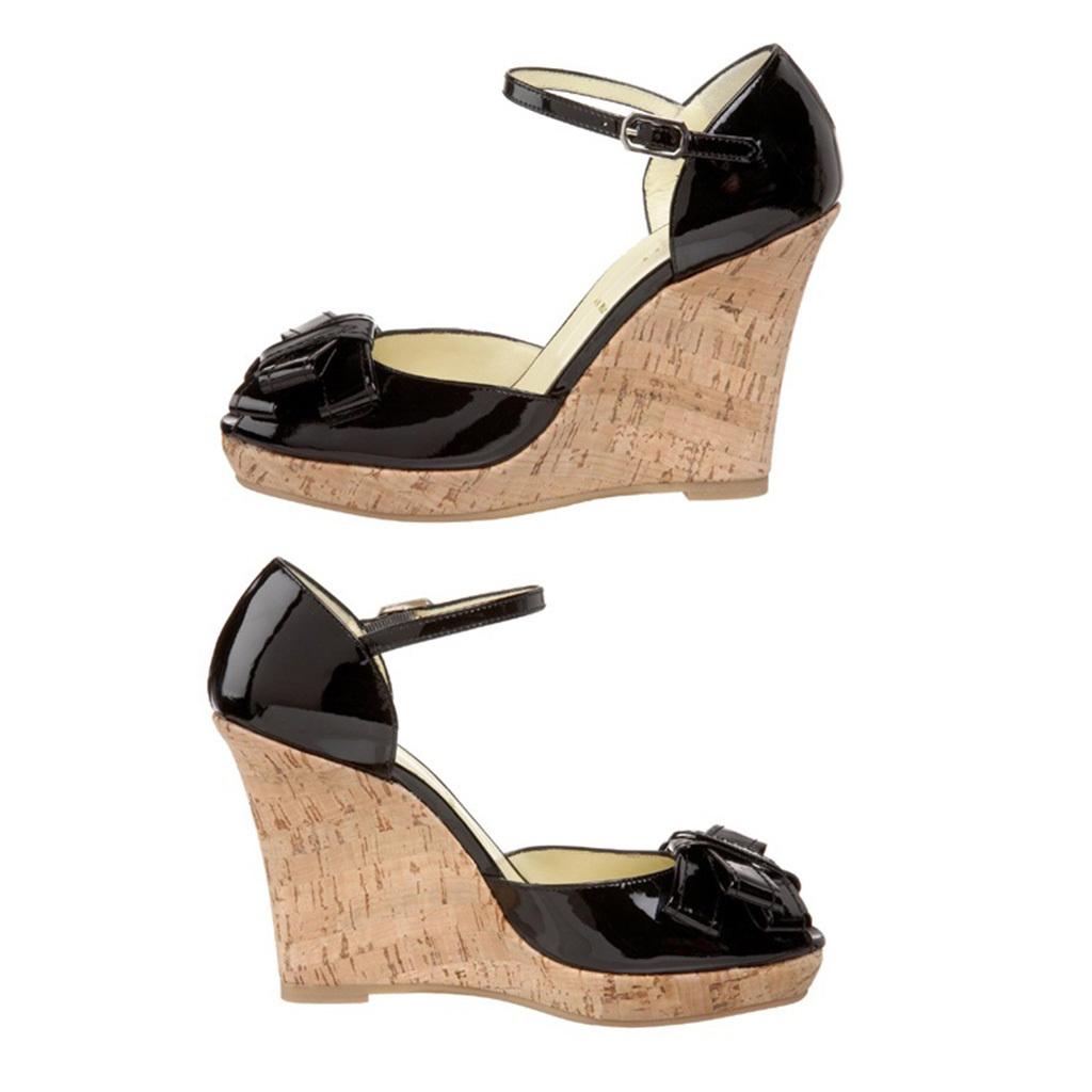 イタリア老舗靴ブランドBruno Magli ブルーノマリ エナメルリボンウエッジオープントゥサンダル★黒DH311Z TARZIANA ITALY fs20008