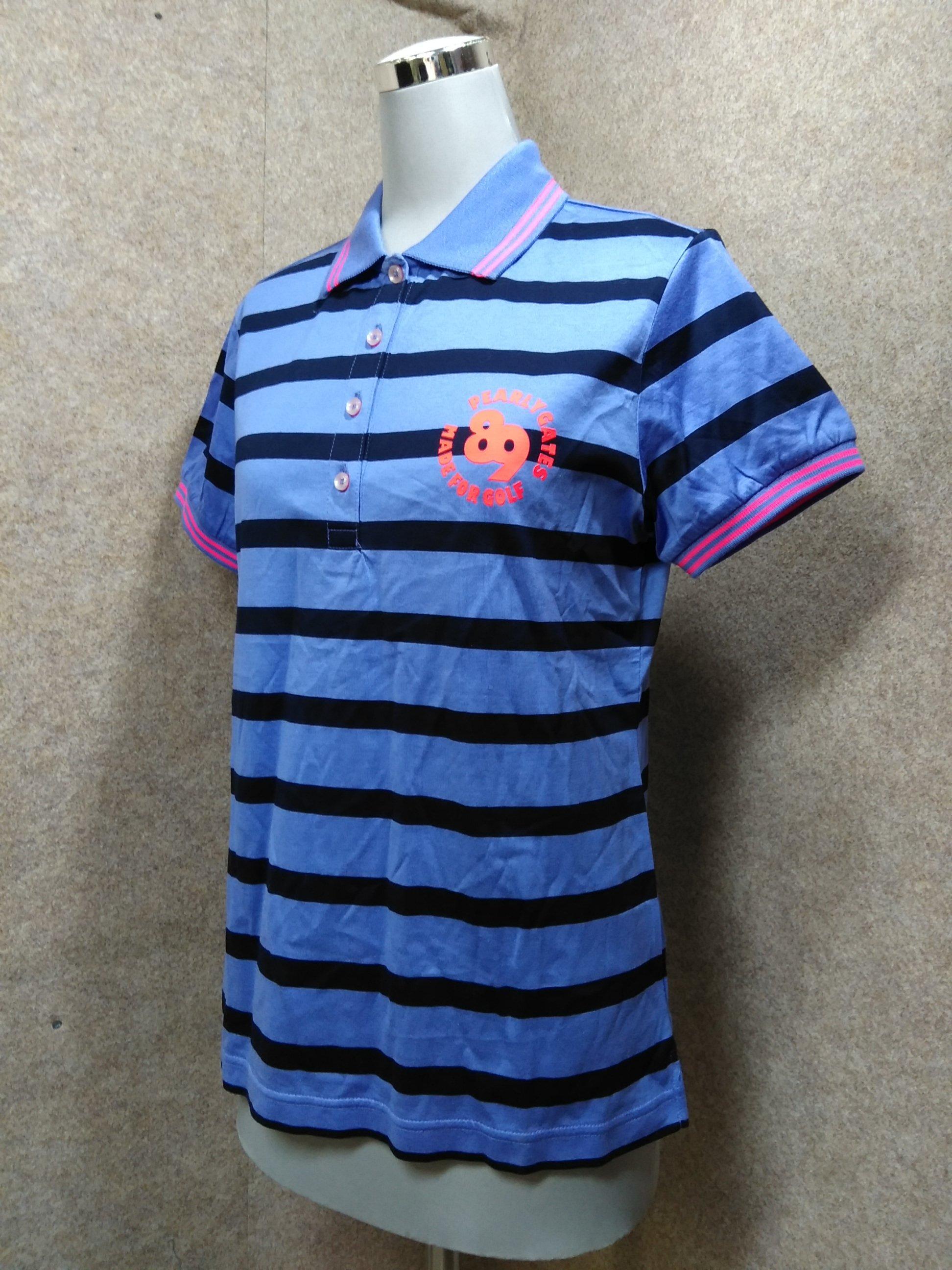パーリーゲイツ ポロシャツ ゴルフ 0 青紫 ボーダー mh1001c