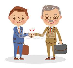 イラスト素材:握手をするビジネスマン/若い男性と熟年男性(ベクター・JPG)