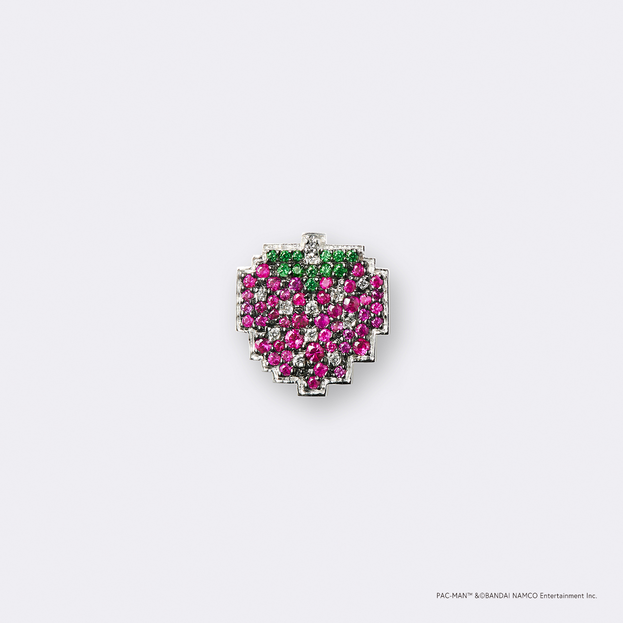 PAC-MAN  (パックマン) K18WG・ボーナスフルーツ ストロベリー/グリーンガーネット ルビー ダイヤモンドピンバッジ