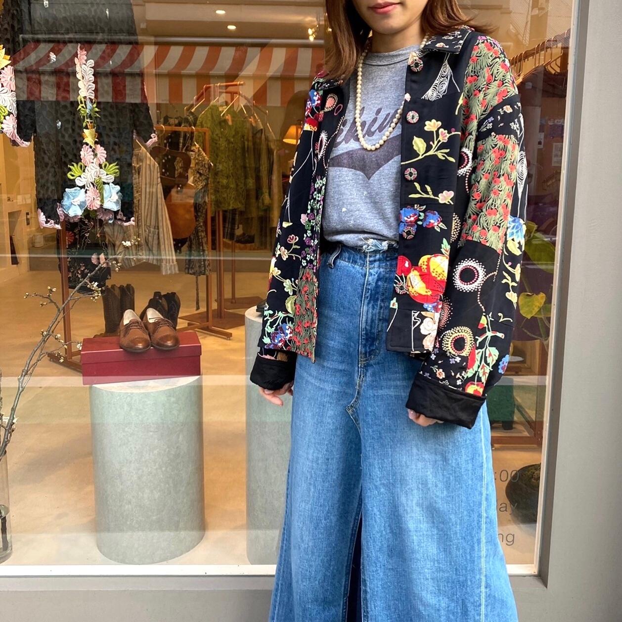 ◼︎80s vintage flower patchwork print cotton jacket from U.S.A.◼︎