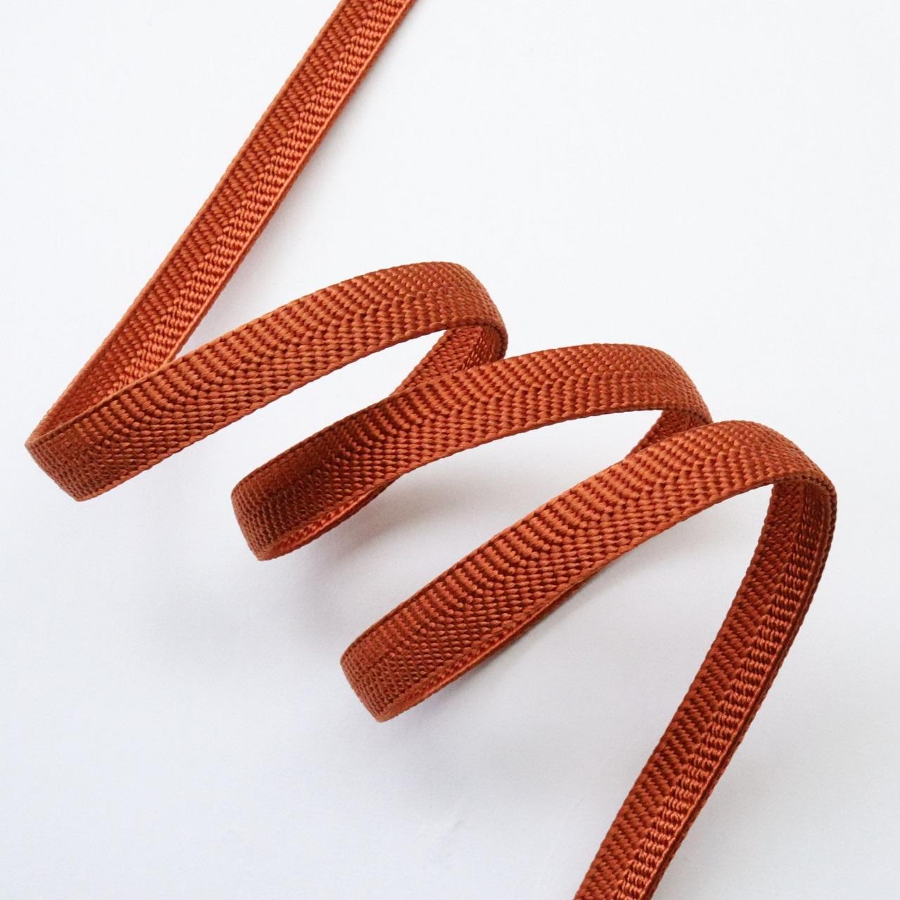 【帯締め】正絹三分紐 無地 褐色