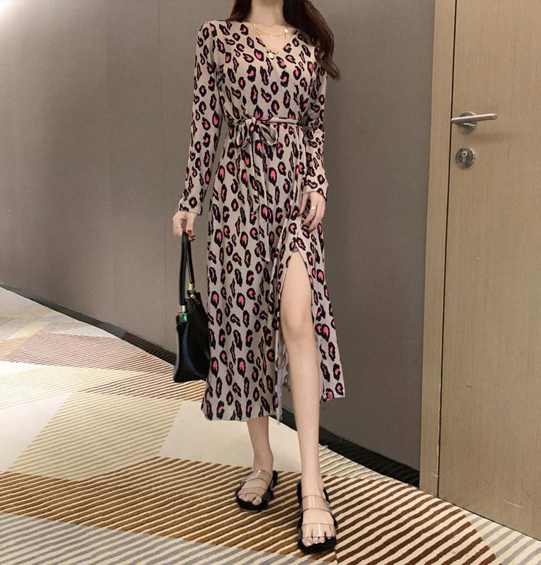 「ワンピース」ワンピース女性らしいエレガントvネックロングファッションヒョウセクシーワンピース