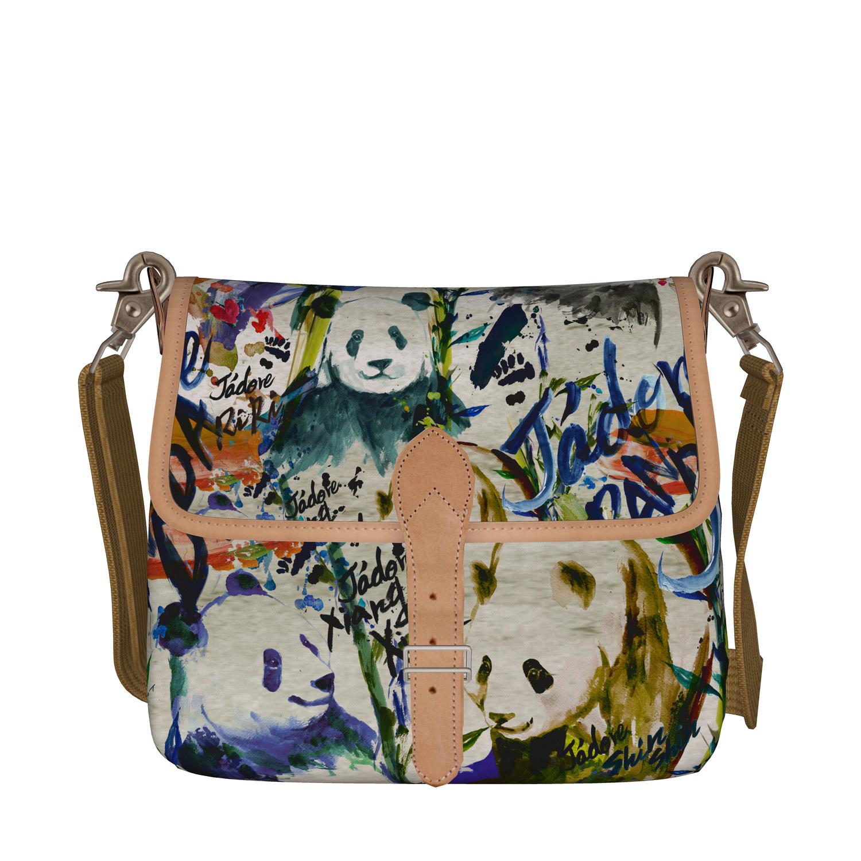 ◆受注生産◆ショルダーバッグ「アートペイントパンダファミリー」柄 & チャームセット