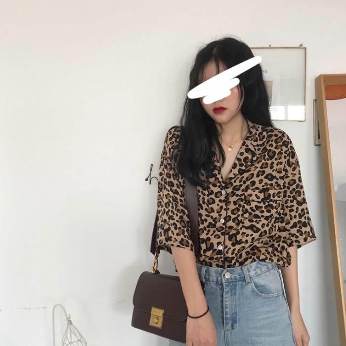 【送料無料】 レオパード×開襟♡ ヒョウ柄 アニマル オーバーサイズ シャツ 五分袖