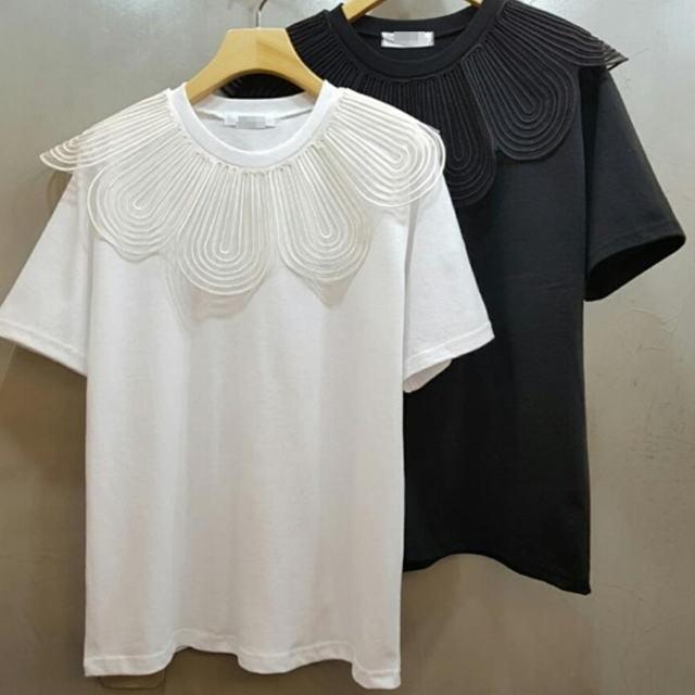 ワイド花びらレース襟◆半袖Tシャツ