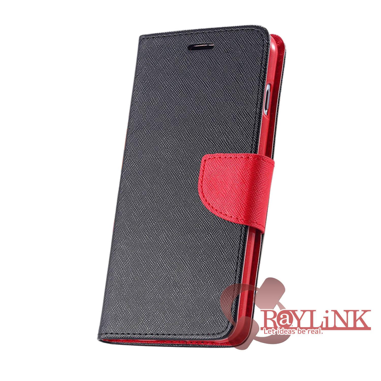 【スマホケース】Floveme iPhone7Plus用二つ折りレザーケース 黒x赤