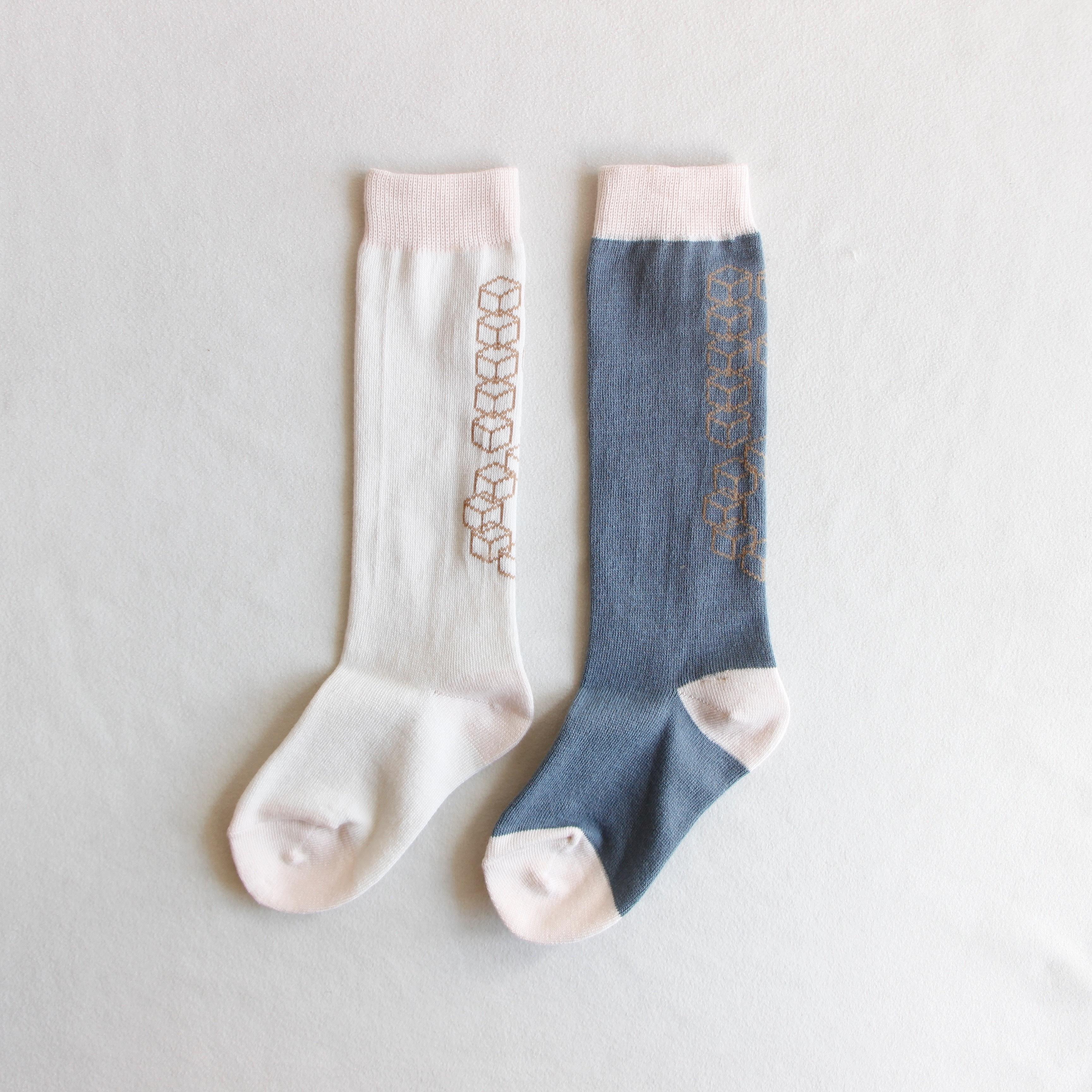《frankygrow 2020SS》CUBE POP SOCKS / white × gray / S・M・L