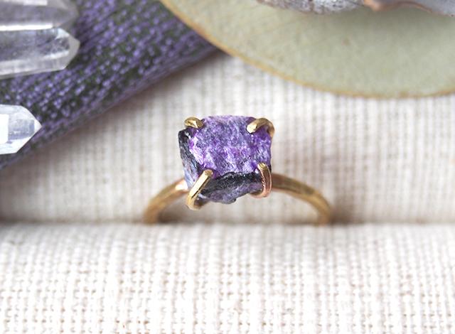 [一点物]原石のスギライトのリング
