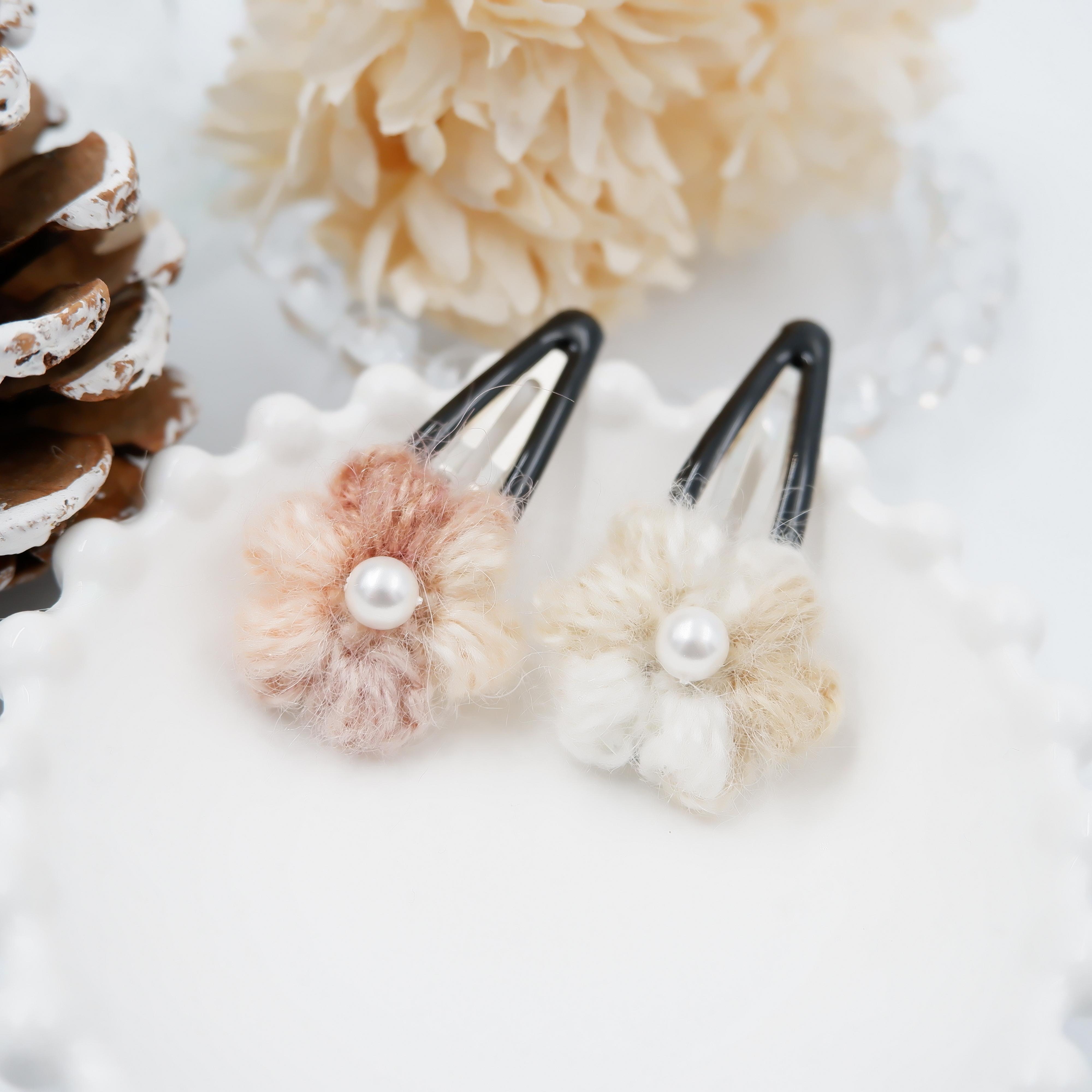 Kobana モヘアの小花ヘアピンセット*ピンク&ホワイト