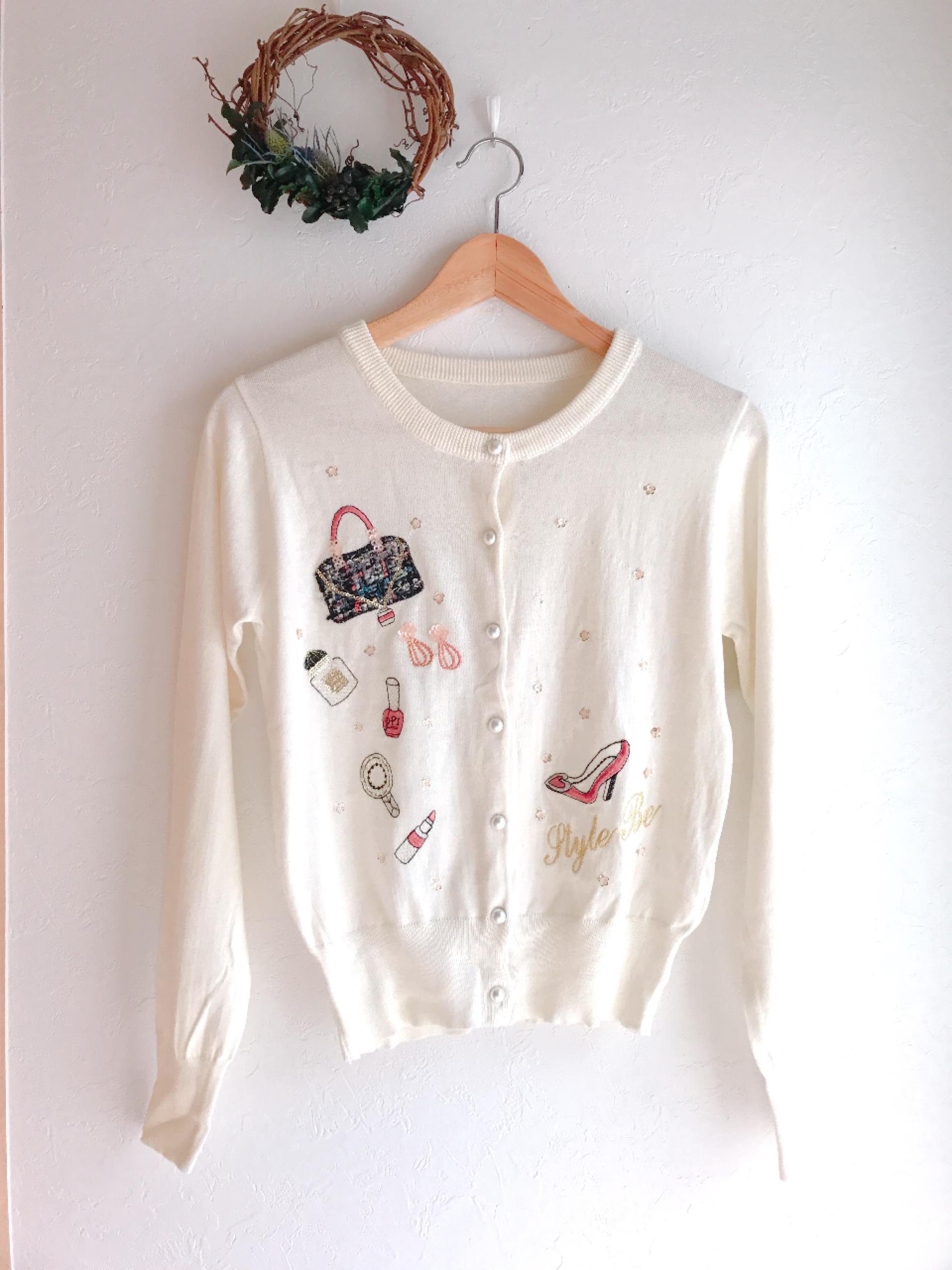 再入荷★ツイードバッグリップパンプスの刺繍カーディガン オフホワイト