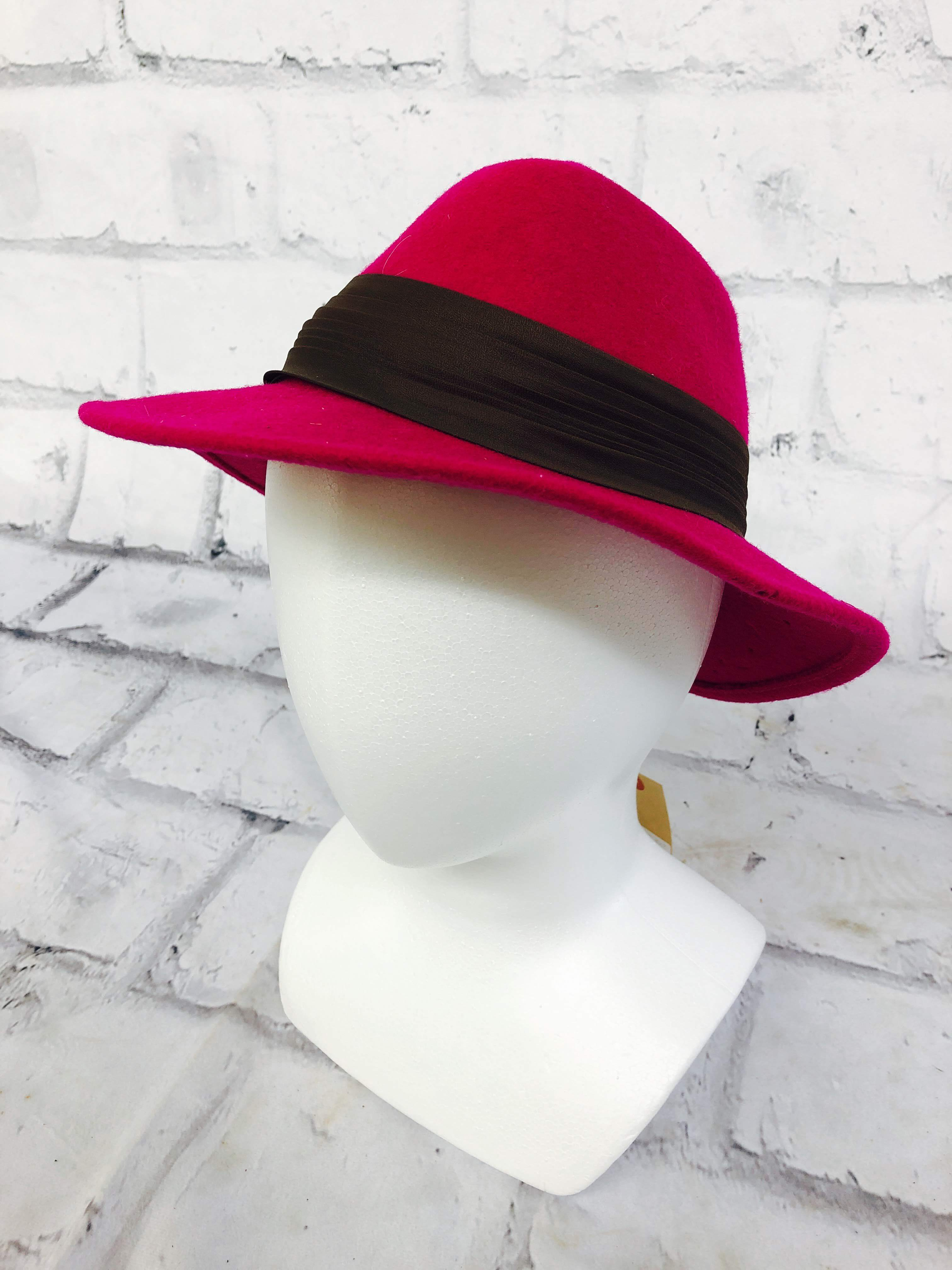 品番1218 フェルトハット ウールハット Lancaster(ランカスター) ピンク 帽子 ハットバンド レディース ヴィンテージ