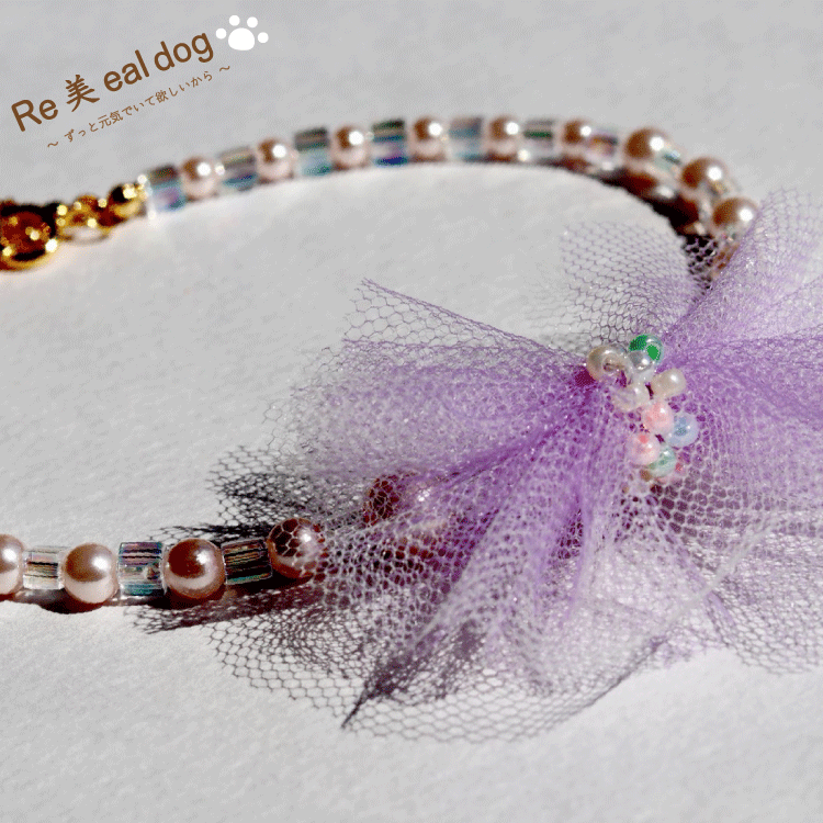 ネックレス / ピンクパール / リボン紫色