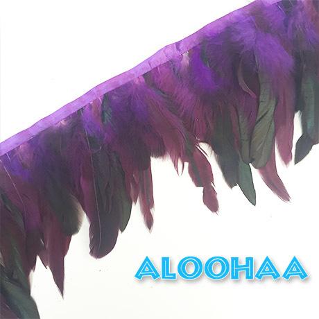 フェザーロール 【パープル】 14~19cm丈 1m DIY 羽 タヒチアン 衣装材料 タヒチアン ポリネシアンフェザー