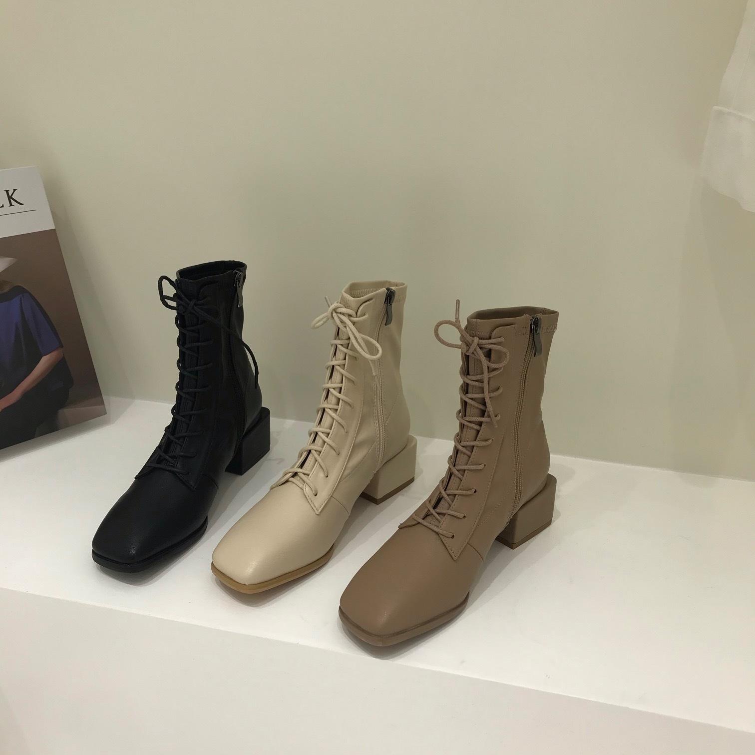 〈カフェシリーズ〉レースアップハイヒールブーツ【lace up high heel shoes】