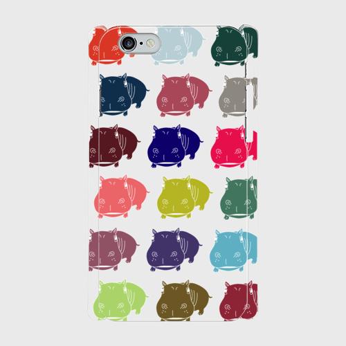iPhone6/6sスマホケース ☆カバ×マルチ ☆側表面印刷ツヤ有り(コート)