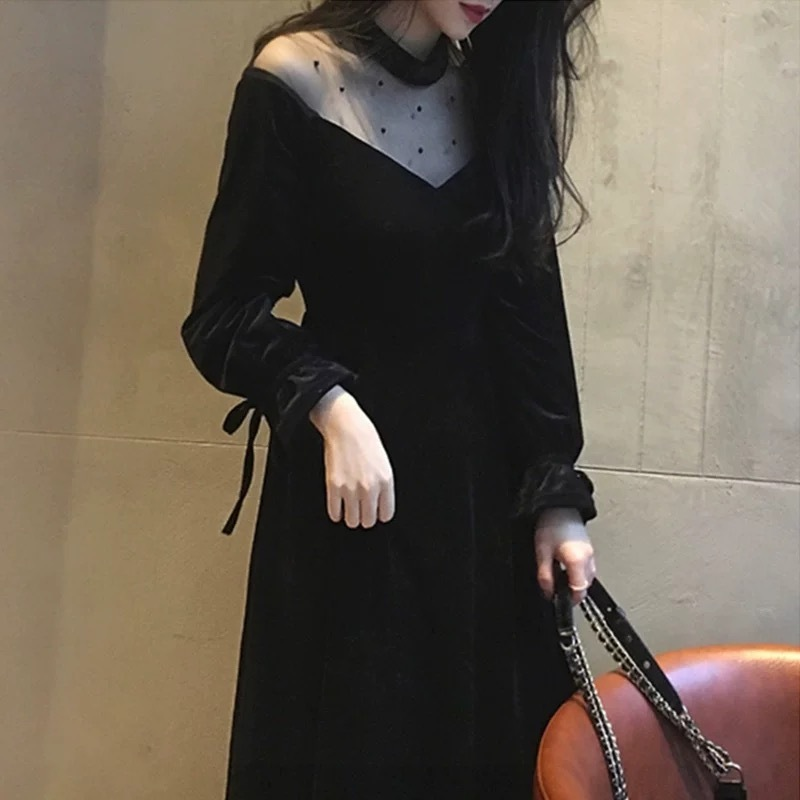 【即納】dot studs velvet dress