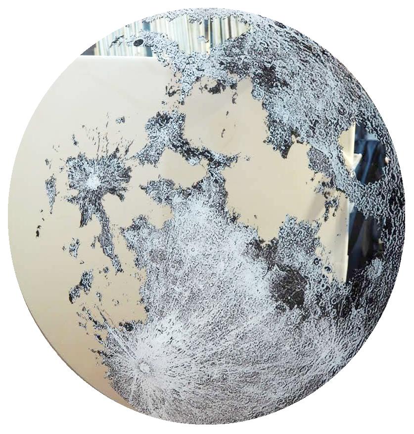 品番0121 新品 ガラスア―ト 9012 ミラー 『月 ムーン』 鏡面 ラウンド  壁飾り 飾り板 アメリカン雑貨