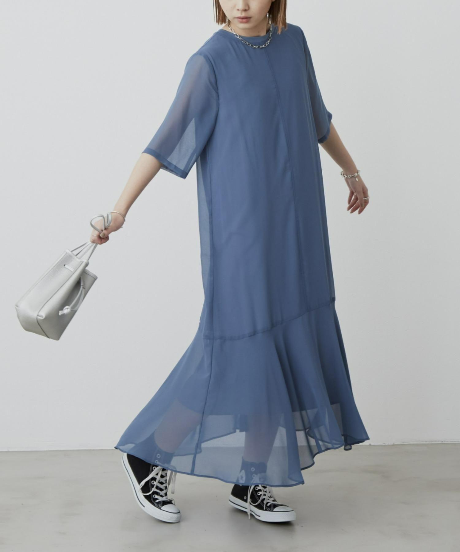 シアーフレアラインワンピース/BLU