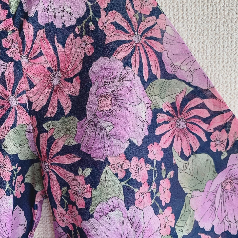 vintage Euro flower design flare sleeve onepiece