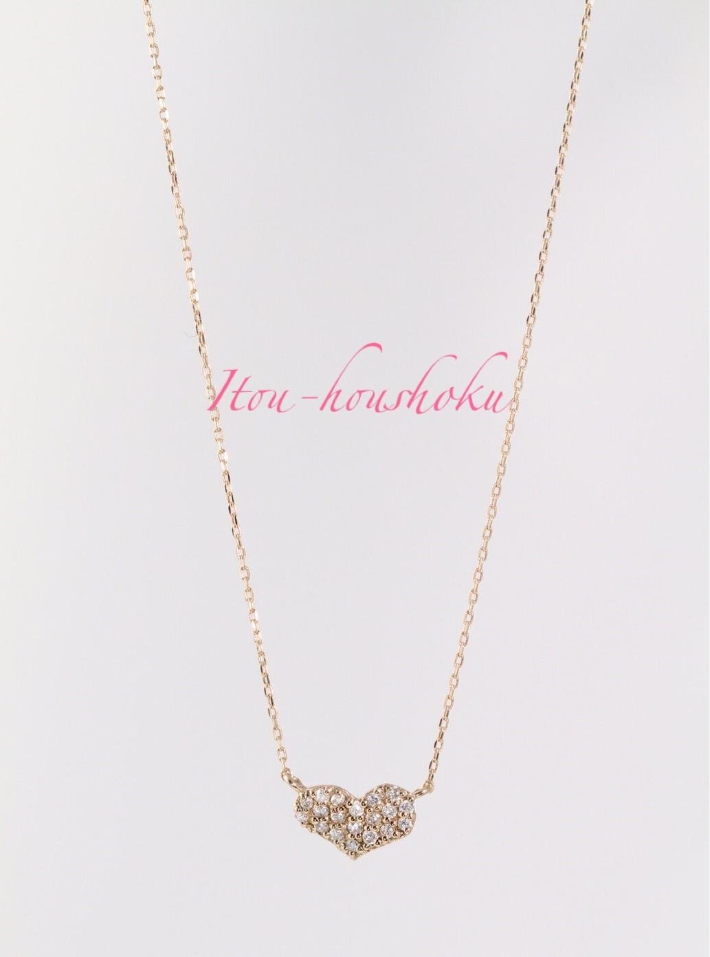 K18  ピンクゴールド ダイヤ0.12ct ネックレス ○