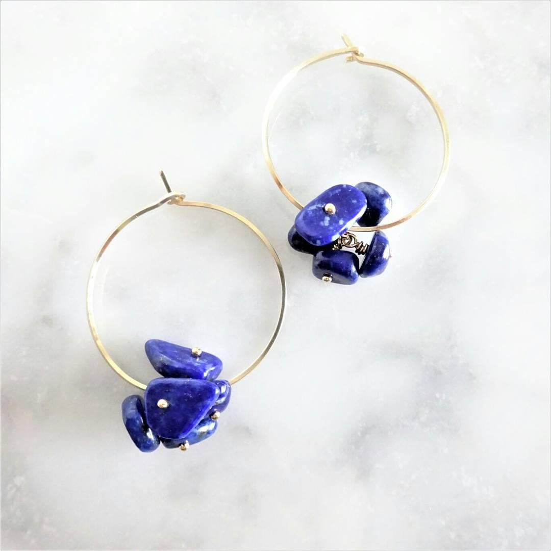 送料無料 14kgf*Lapis lazuli flowers hoop pierce/earring