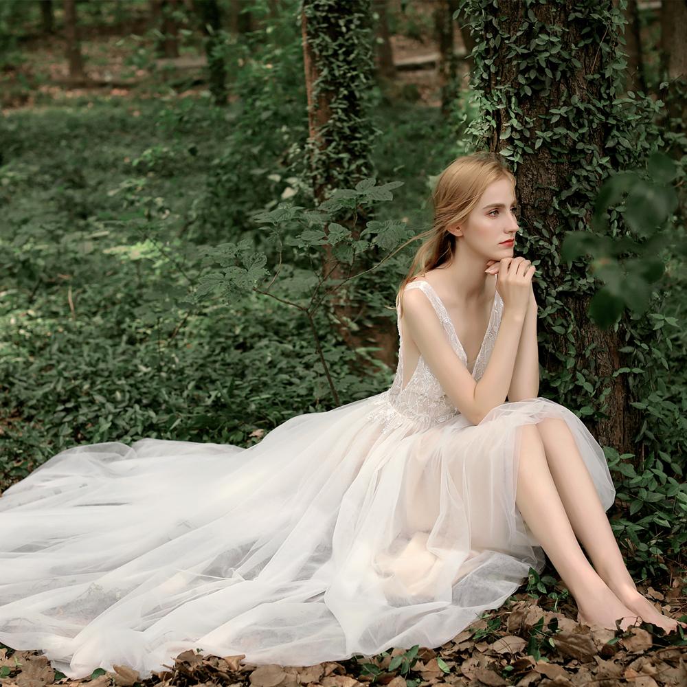 【DearWhite】ウェディングドレス Aライン プリンセス エンパイア デコルテ 結婚式 披露宴 二次会 パーティーウェディングドレス・カラードレス・サイズオーダー格安オーダーメイド DW00029